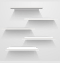 white empty shelves on white wall mockup vector image