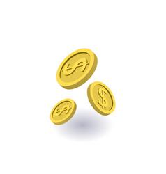 falling coins icon symbol vector image vector image