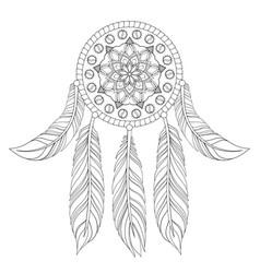 hand drawn of ethnic dream catcher vector image vector image
