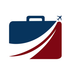 luggage and aeroplane travel logo vector image