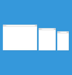 Open internet browser window in a flat style vector