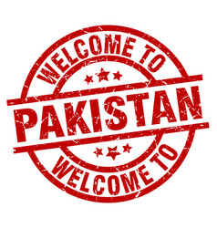 welcome to pakistan red stamp vector image vector image