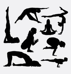 female yoga sport silhouette vector image vector image