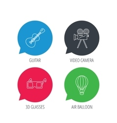 Guitar music 3d glasses and air balloon icons vector