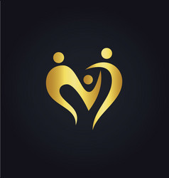 love heart abstract family group gold logo vector image vector image