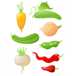 set of glossy vegetable icons vector image vector image