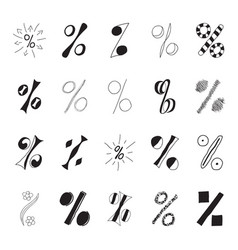 Set of hand drawn percent signs vector