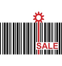barcode with red sale text and gear icon vector image vector image