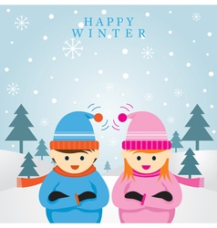 Boy and Girl in Winter Season Background vector image vector image