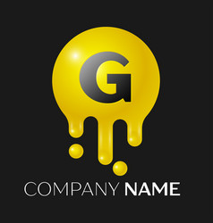g letter splash logo yellow dots and bubbles vector image vector image
