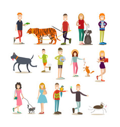 pet owners with their animals flat icon set vector image vector image