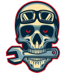 skull rider bite a wrench vector image