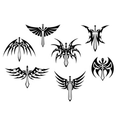 Swords and daggers tribal tattoos vector image