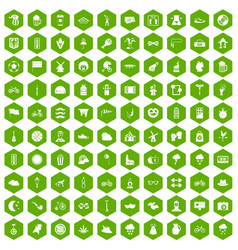 100 bicycle icons hexagon green vector