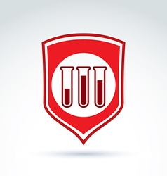 A red shield symbol and test tubes with a vector