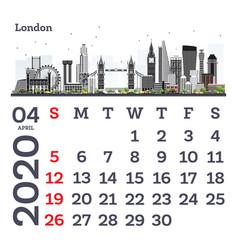 april 2020 calendar template with london city vector image