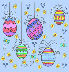 art of easter egg style doodles vector image