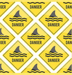 Attention shark fin flipper sign icon vector