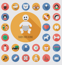 baby kids flat digital icon set vector image