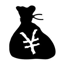 Bag japanese yen isolated vector