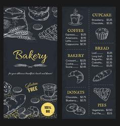 bakery menu mockup hand drawn brochure food vector image
