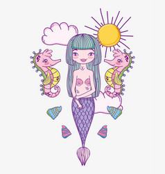 Beauty woman mermaid with seahorses and shells vector