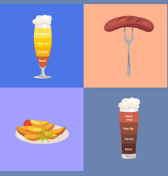 Beer and food represented on vector
