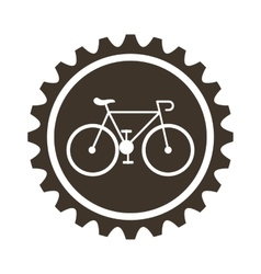 Bicycle vehicle style with gear isolated icon vector