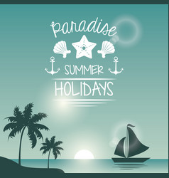 blue color poster seaside with yacht and logo text vector image