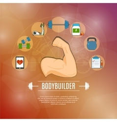 Bodybuilding Concept Icons Set vector image