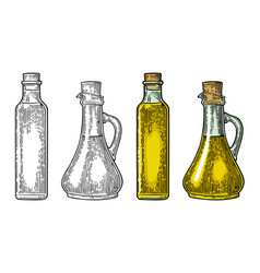 Bottle and jug glass liquid with cork stopper vector