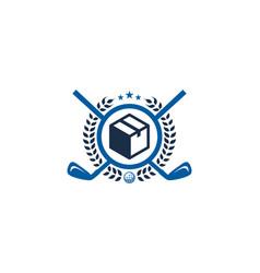 box golf logo icon design vector image