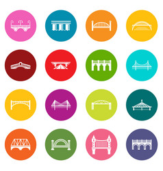 bridge icons set colorful circles vector image