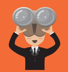 businessman with binoculars vector image