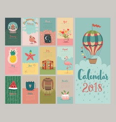 Calendar 2018 cute monthly calendar vector