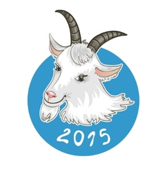 Card with goat on blue background symbol of 2015 vector image