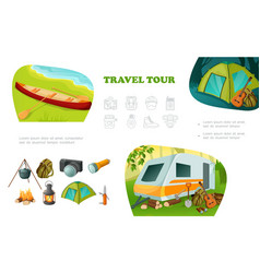 cartoon camping colorful composition vector image