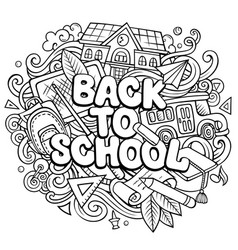 cartoon cute doodles back to school phrase vector image