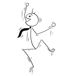 Cartoon stick figure of happy man jumping vector