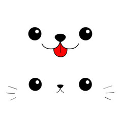 cat dog eyes nose moustaches tongue cute cartoon vector image