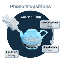 Changes of states evaporation - water boiling vector