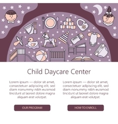 Child and baby care center web or card template vector