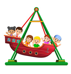 Children playing on viking ride at carnival vector