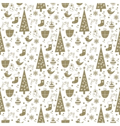 Christmas background pattern white gold vector