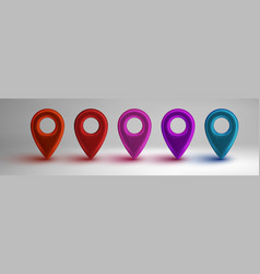 colorful map pointers set isolated on white vector image