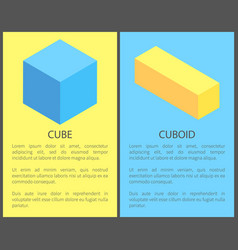 Cube and cuboid posters set vector