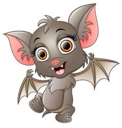 Cute bat cartoon waving vector