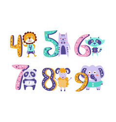cute kids anniversary numbers with animals lion vector image