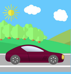 dark red sport car on a road on a sunny day vector image