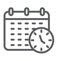 deadline line icon organizer and plan calendar vector image